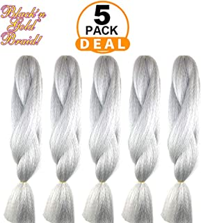 BNG Classic 100% Kanekalon Jumbo Braiding Hair Extensions for Goddess, Box Braids, Twists, Faux Locs, Crochet Braiding Hair 5 Pack (#51)