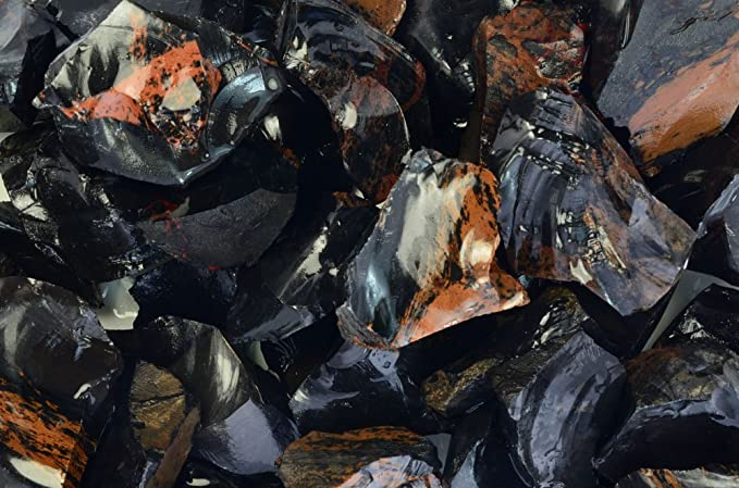Details about  /Black Obsidian Rough Mahogany lapidary display Unpolished 1 pound small pieces