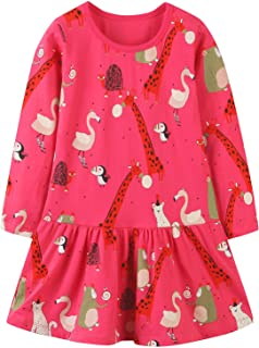 Bumeex Toddler Girl Christmas Clothes Cotton Dresses,Cute Long Sleeve Fall Winter Tunic Outfit