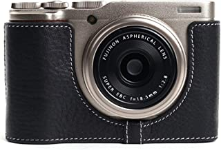 XF10 Camera Case, BolinUS Handmade Genuine Real Leather Half Camera Case Bag Cover for Fujifilm Fuji XF10 Camera Bottom Opening Version + Hand Strap -Black