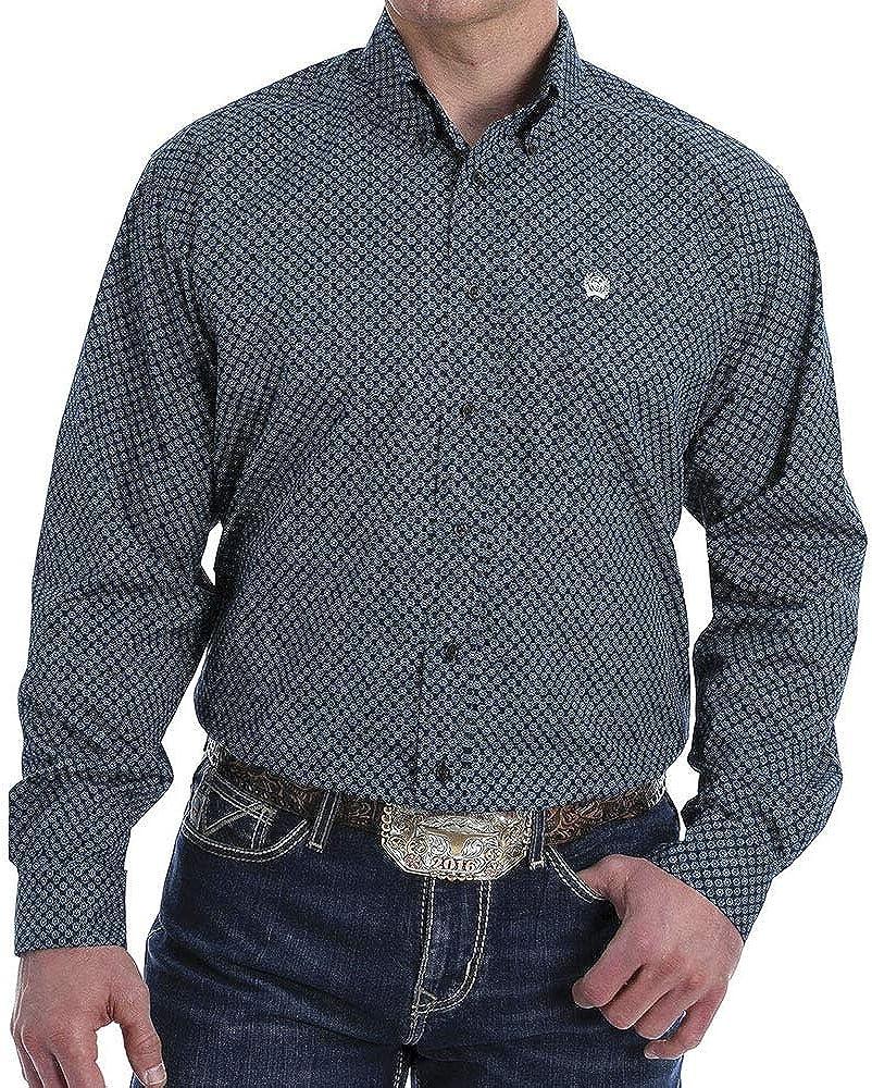 Cinch Men's Small Floral Geo Print Long Sleeve Western Shirt Black Medium