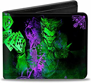 Buckle-Down Men's Wallet The Joker Card Flipping Poses Black/Greens/Purples Accessory, -Multi, One Size