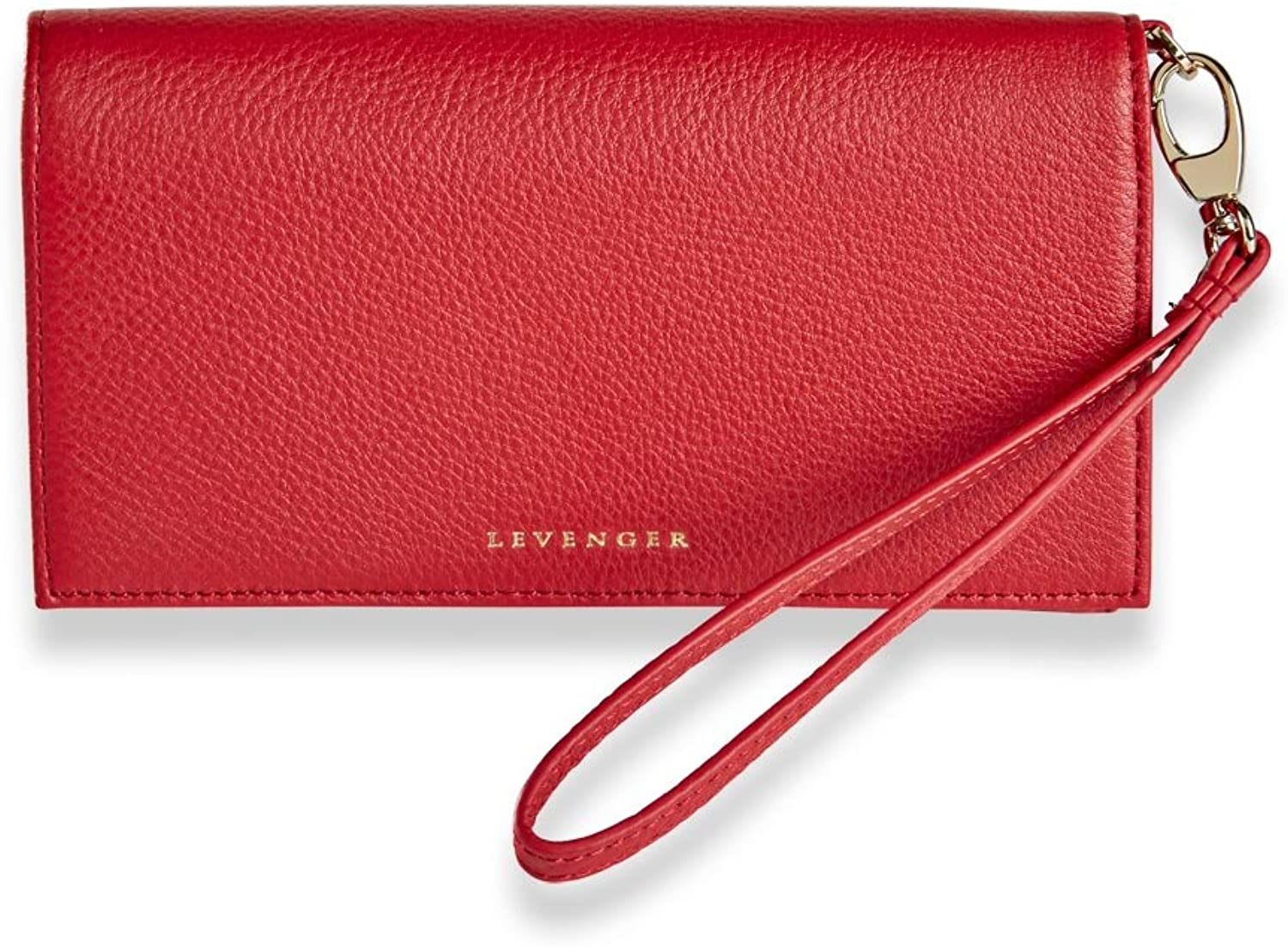 Levenger Sara Wristlet Luxurious Leather Snap Wallet, Red (AL14855 RD)