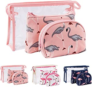 Fanspack 3PCS Makeup Bag Creative Flamingo Waterproof Clear Toiletry Bag Cosmetic Pouch