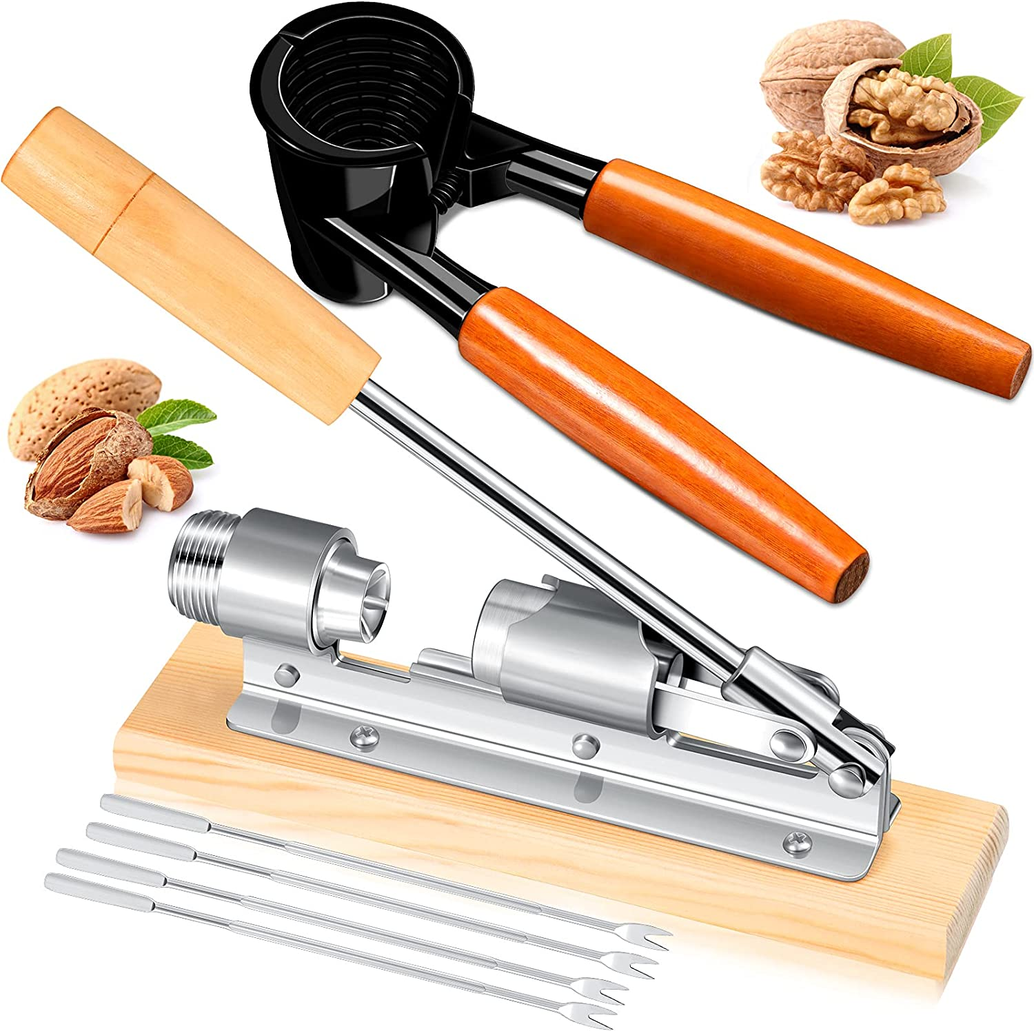 Benver 6 Pieces Nut Crackers Set Pecan Wood Handle Popular Shipping included brand Include
