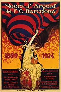 F.C. Barcelona Silver Anniversary,1924 - Spanish Vintage Advertising Poster (24 x 36)