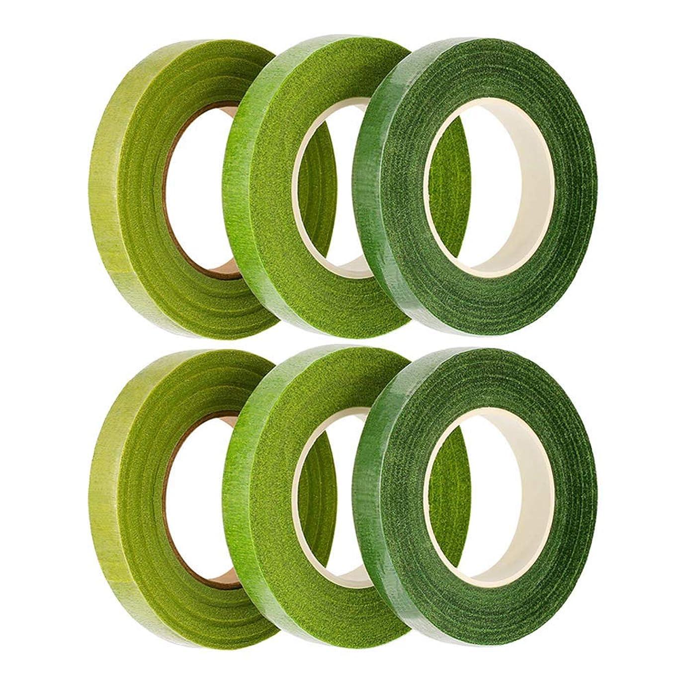 マーキングであることセッションLULAA フローラテープ 造花テープ グリーンテープ 人工造花 花束 ギフト DIY製作 6枚 3色