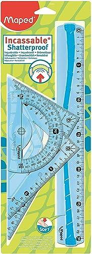 Maped Maxi Kit de Traçage INCASSABLE avec 4 Pièces Règle 30cm, Rapporteur 180°/12cm, Equerre 60°/21cm, Equerre 45°/21...