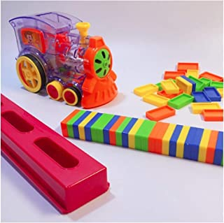 Domino Set Train Blocks Automatic Laying Function Children's Toy (Color : Clear) QIANG