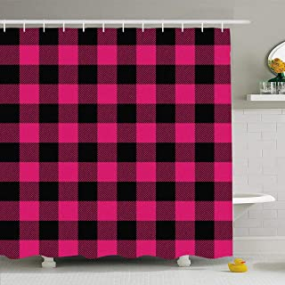Ahawoso Shower Curtain Set with Hooks 66x72 Fall Pink Kilt Wool Tartan Lumberjack Buffalo Plaid Seasonal Abstract Paper Country Textures Black Waterproof Polyester Fabric Bath Decor for Bathroom