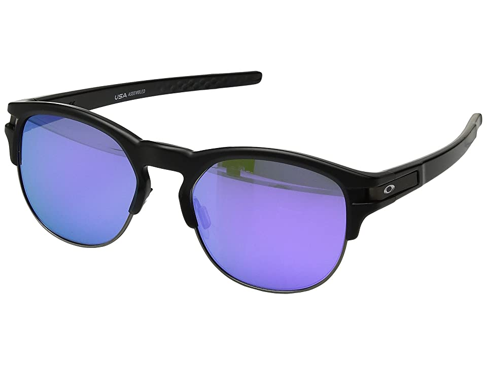 Oakley Latch Key M (52) (Matte Black w/ Violet Iridium) Athletic Performance Sport Sunglasses