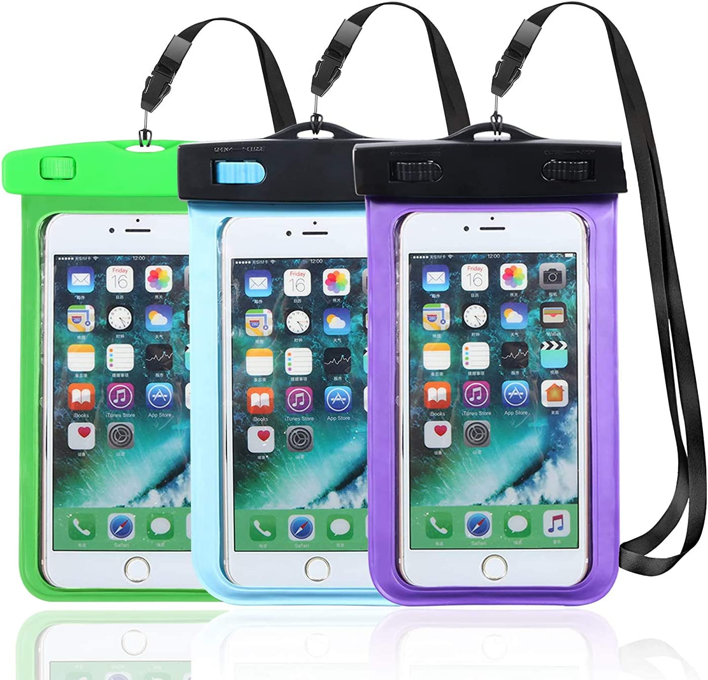 Hartop 3 Pack Waterproof Phone Pouch,Waterproof Cellphone Case Dry Bag for Apple iPhone Xs Max/XR/X/8/8P/7/7P Galaxy up to 7.0