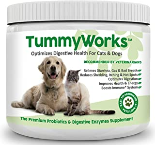 TummyWorks Probiotic Powder for Dogs & Cats. Relieves Diarrhea, Upset Stomach, Gas, Constipation & Bad Breath, Itching, Allergies & Yeast Infections. Added Digestive Enzymes & Prebiotics. Made in USA
