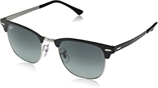 Ray-Ban Metal Unisex Square Sunglasses, Silver Top Black, 51 mm
