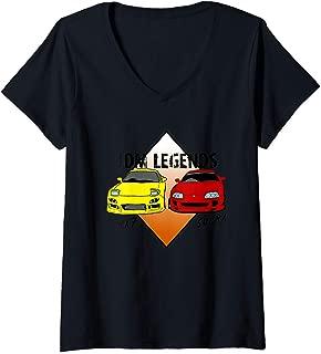 Womens JDM Legends Classic Cars Rx7 and Supra Turbo Sports Drift  V-Neck T-Shirt