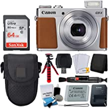 Canon PowerShot G9 X Mark II Digital Camera (Silver) + SanDisk 64GB Memory Card + Point & Shoot Case + Flexible Tripod + USB Card Reader + Cleaning Kit + LCD Screen Protectors - Full Accessory Bundle