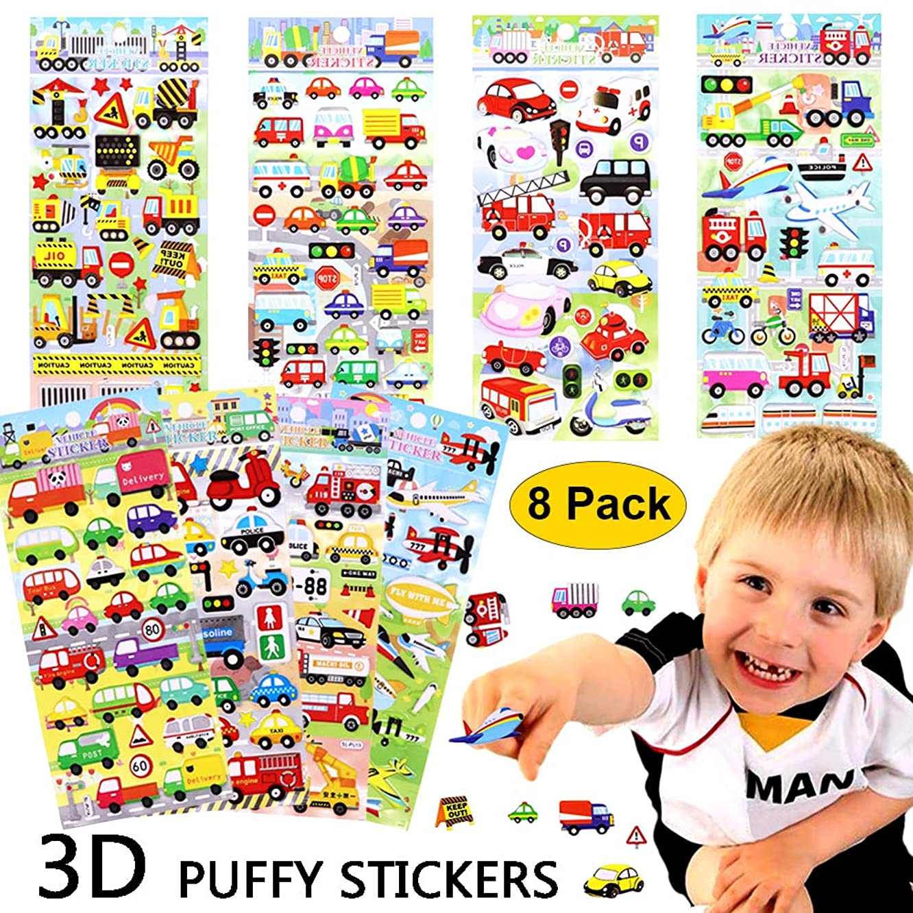 3D Puffy Stickers for Kids 8 Different Sheets Car Stickers Vehicle Taxi Bus Airplane Train Foam Stickers for Scrapbook Toddlers Birthday Party Favors Reward Gift