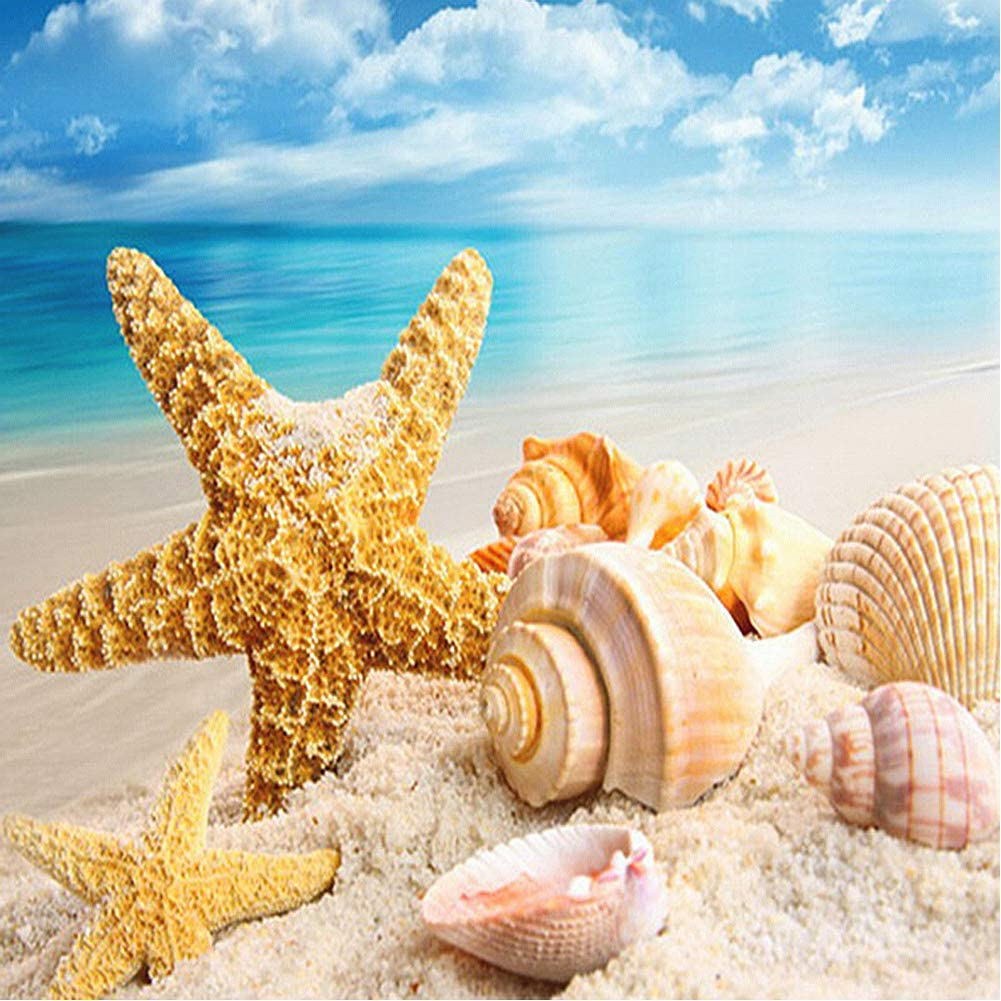 Diamond Painting Kits for Adults Kids,Diamonds Art Beach Shells HD Canvas Picture,DIY 5D Full Drill Round Crystal Gem Art Paint Stitch Diamonds Dots Craft Paintings for New Home Wall Decor 12x12in