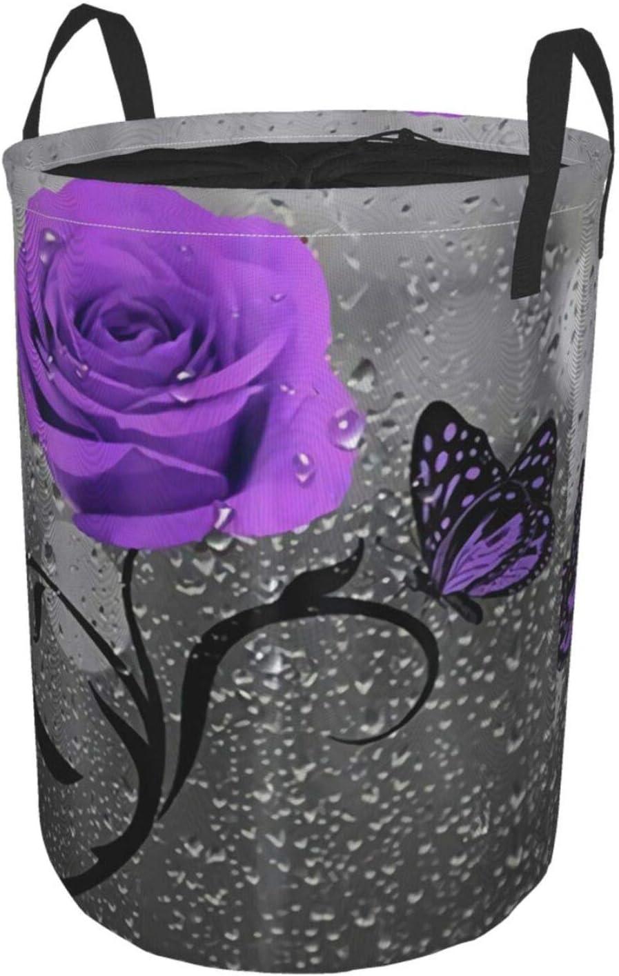 YMBKFan Large free shipping Storage Baskets Purple Discount is also underway Butterflies Flower Rose Gre