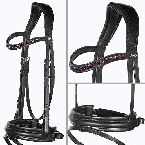 Heinick-Reitsport Couverture de cheval Edle  Motion Bridon Dust rouge Noir  Bridon extra large RH demi-sang pur-sang