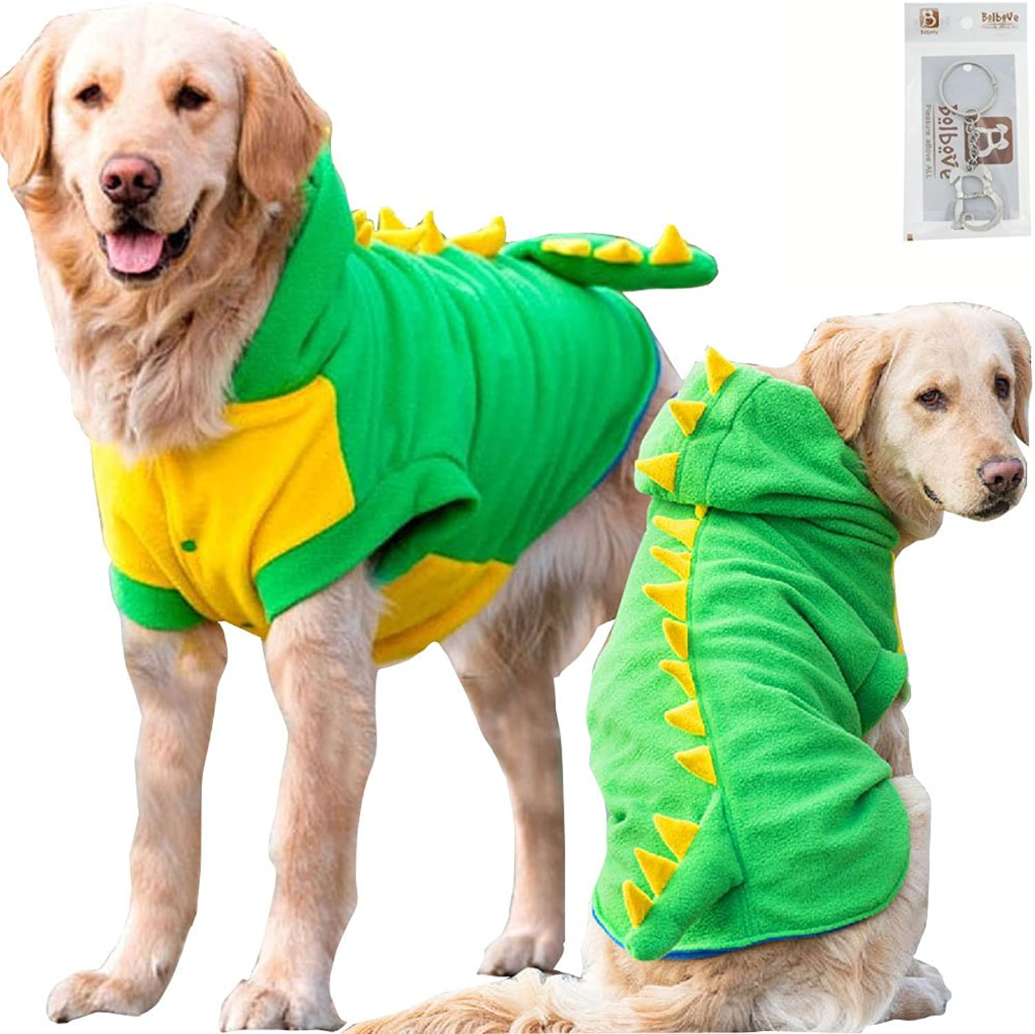 Bolbove Large Dog Fleece Outfit Dinosaur Costume with Hood for Big Dogs Cold Weather Coats Large Dogs Party Apparel (4XL)