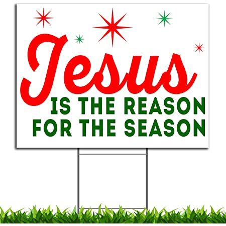 VIBE INK Jesus is The Reason for The Season Christmas Holiday Yard Sign, 24x18, Double-Sided, Large, Corrugated Plastic, Waterproof, Metal Stand Included - Made in The USA! (1)