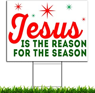 VIBE INK Jesus is The Reason for The Season Christmas Holiday Yard Sign, 24x18, Double-Sided, Large, Corrugated Plastic, Waterproof, Metal Stand Included - Made in The USA!