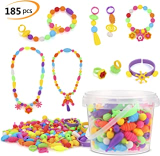 Phogary Pop Beads Set, 185 PCS Pop Snap Beads Arts and Crafts Toys Gifts for Kids Age 4yr-8yr, Jewellery Making Kit for 4, 5, 6, 7 Year Old Girls, Necklace and Bracelet and Ring Creativity DIY Set