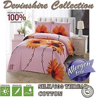 Devonshire Collection 600 Tread Count 100% Cotton 4PCs Bedding Comforter Cover Set. 1 x Zipper Quilt Duvet Cover, 1 x Fitted Sheet, 2 x Pillow Case. European Design Art No:DP03 (Queen)