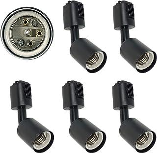 AiwodeライティングレールE26口金 ダクトレール用照明器具2019新型 間接照明 ブラック スポットライト器具電球別売PSE済み、黒い 5個セット。