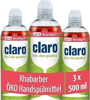 claro Eco, handafwasmiddel, 3 x 500 ml, rabararber, veganistisch, palmolievrij, hoge vetoplossingskracht en biologisch afb...