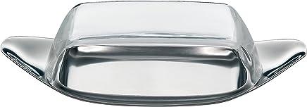Preisvergleich für WMF Wagenfeld Butterdose, mit Kunststoffhaube, Cromargan Edelstahl mattiert, spülmaschinengeeignet, 22 x 11 cm