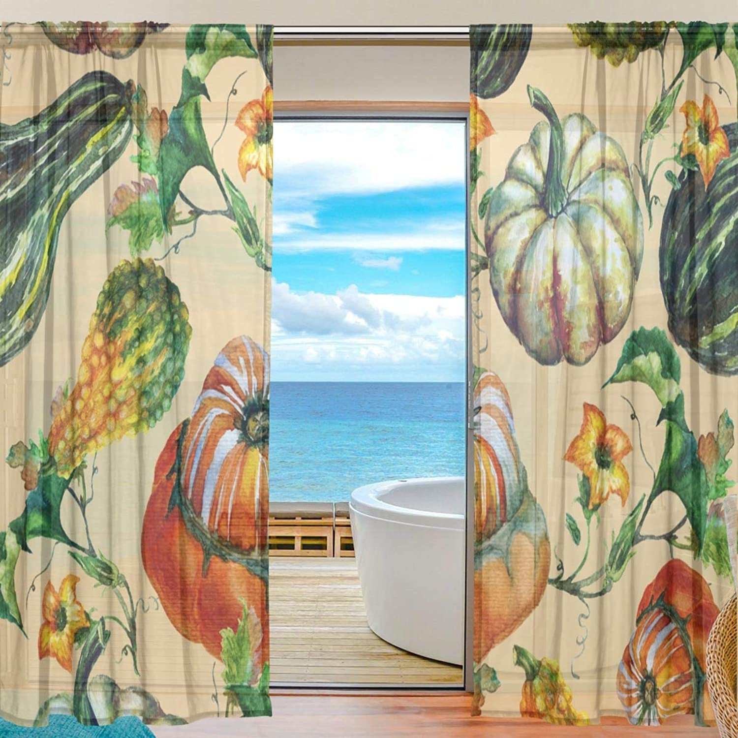 Pumpkin Pattern 2 Pieces Curtain Panel 55 x 78 inches for Bedroom Living Room