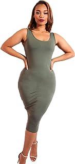Rebdolls Women s Casual Essential Tank Sleeveless Body Conscious Midi Dress  Plus Sizes 6fbe70547