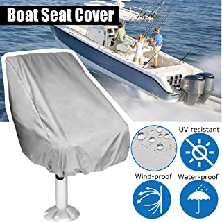 ESSORT Boat Seat Cover, Outdoor Waterproof Polyester Folding Pedestal Pontoon Captain Boat Bench Chair Seat Cover for Helm Bucket Fixed Back Seat 56×61×64cm/ 22''x24''x25'' Gray