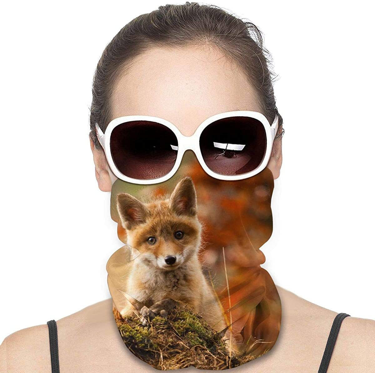 KiuLoam Women Bandanas Face Mask, Baby Red Fox Neck Gaiter Mask Headband for Men Face Scarf Dust, Outdoors, Sports