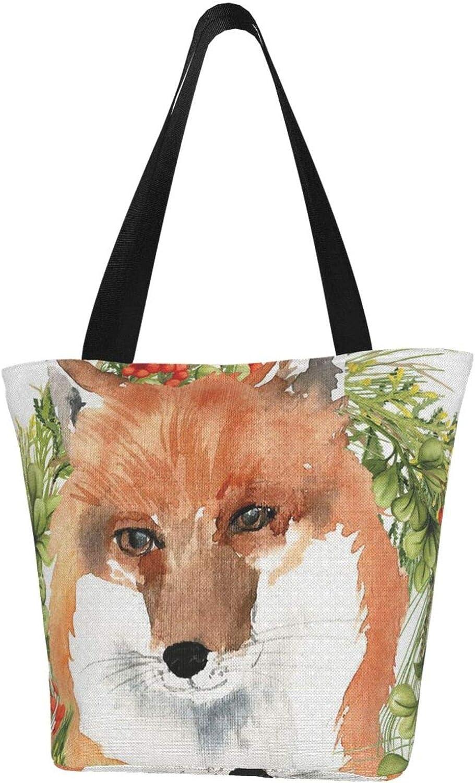 Cute Fox Animals Fall Christmas Themed Printed Women Canvas Handbag Zipper Shoulder Bag Work Booksbag Tote Purse Leisure Hobo Bag For Shopping