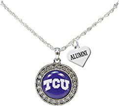 TCU Horned Frogs Alumni Charm Silver Crystal Necklace Jewelry Texas Christian