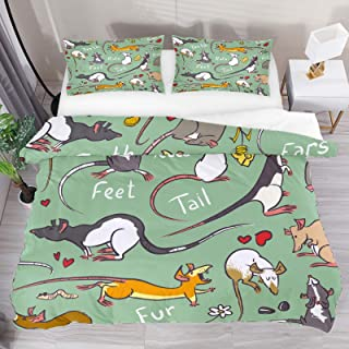 Duvet Cover Set, King Bedding Set 3 Pieces, Rats With Long Tail Pattern Comforter Sheet Set with Pillow Shams Room Decor f...
