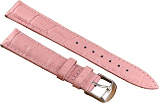 12-22mm Pink Luxury Leather Watch Bands Strap Replacement for Women Moderate Padding Genuine Cowhide
