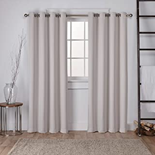 Exclusive Home Curtains EH7983-12 2-108G Sateen Twill Woven Blackout Grommet Top Curtain Panel Pair, 52x108, Silver, 2 Count