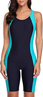 CharmLeaks Womens Boyleg One Piece Swimsuits Competitive Modest Bathing Suits Nav