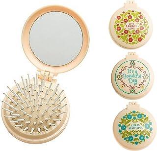 "3pc Inspirational 2.5"" Diameter Folding Hair Brush with Compact Mirror Pocket Size Travel Car Gym Bag Purse Locker Gift of..."