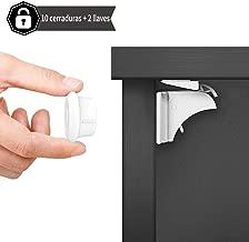 Dokon Cerraduras Magnéticas de Seguridad para Niños (10 cerraduras + 2 llaves) Bloqueo de Seguridad para Bebés, Cierres de seguridad Para Cajones Armarios, Sin Tornillos o Perforación