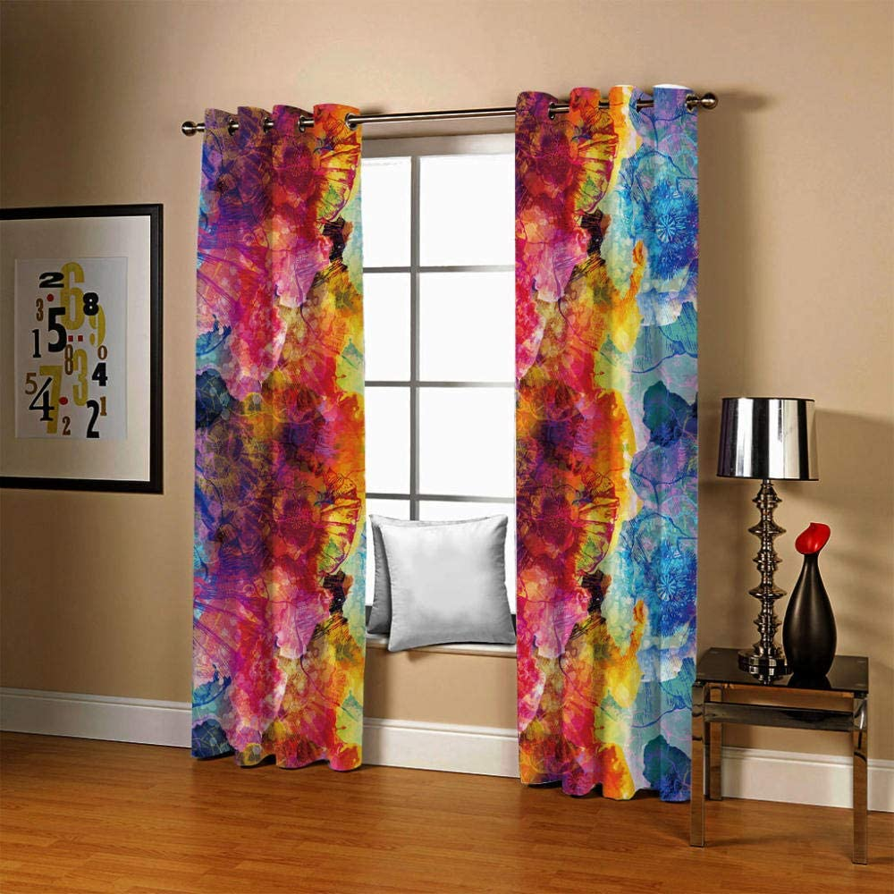 ZCLCHQ Kids Curtains Max 76% OFF wholesale Color Graffiti Bedroom Window Living Room