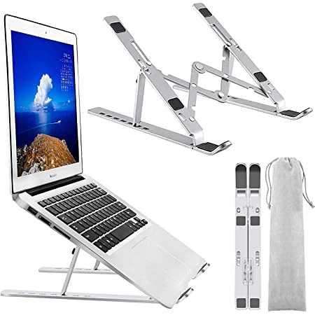 ノートパソコンスタンド 折りたたみ式ラップトップスタンド PCスタンド 7段階高さ角度調整可 人間工学設計 軽量で滑りにくく 放熱性 コンパクト収納袋付き 姿勢改善 PC/MacBook/ipad/ラップトップなどに対応 (アルミ合金)