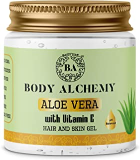 Body Alchemy 99% Pure Aloe Vera Multipurpose Gel For Skin and Hair, Vitamin E (Paraben Free/Non Comedogenic), 200g