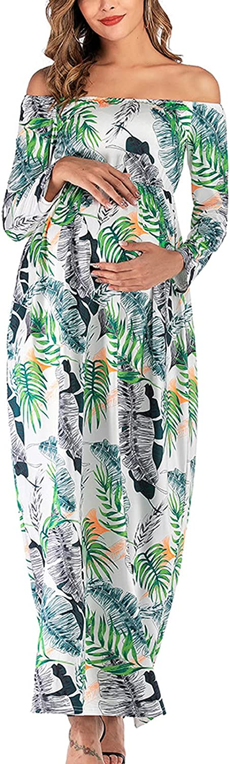 GOODTRADE8 Maternity Clothes Maternity Word-Shoulder Long Sleeve Leaves Print Length-Skirt Fashion Dress