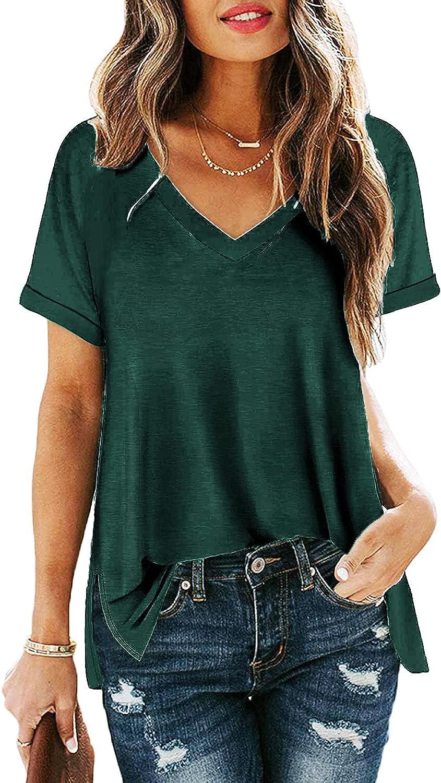 Miselon Women's Casual Side Split V Neck T Shirts Rolled Short Sleeve Tops