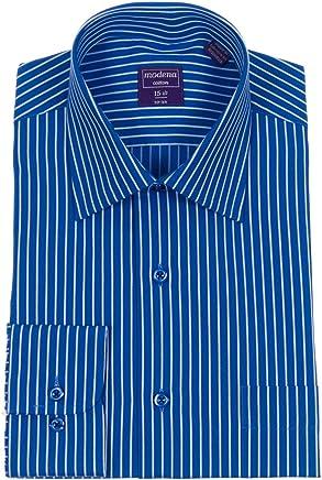 81e241d1 Mens Classic Fit Federal Blue & White Striped Spread Collar Cotton Dress  Shirt